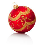 Red decorations Christmas ball Isolated on white background Stock Photos