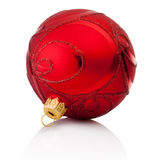 Red decorations Christmas ball Isolated on white background Royalty Free Stock Photo