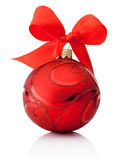 Red decorations Christmas ball with ribbon bow Isolated on white Royalty Free Stock Image