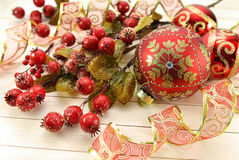 Red decorative baubles with hawthorn berries Stock Photography