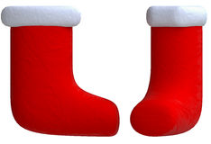 Red decorative boots in plasticine or clay style Stock Photo