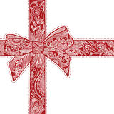 Red decorative bow. Vector drawing Stock Image