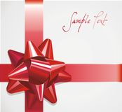 Red decorative bow with ribbons Stock Image