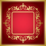 Red decorative vector card with golden frame Stock Photos