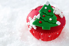Red decorative Christmas cupcake Stock Image