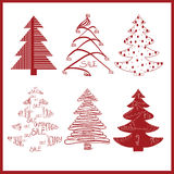 Red decorative fir trees on a white background. Set of red decorative fir trees on a white background. vector illustration Royalty Free Stock Photo