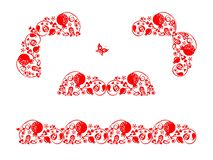Red decorative floral headers, corners and seamless border with abstract pomegranate tree, fruit and flowers for book dividers and
