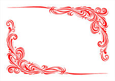 Decorative ornament 004. Floral Borders - Red decorative ornament corner on a white background vector illustration