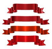 Red decorative ribbons. Isolated on white background stock illustration