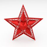 Red decorative star. Digital render of a red decorative star Stock Image