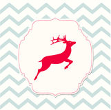 Red deer on beige background, christmas illustration Stock Photos