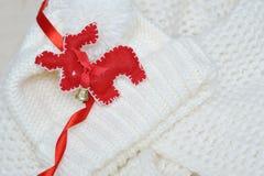 Red deer christmas handmade fleece Stock Photo