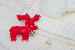 Red deer christmas handmade fleece Stock Photography