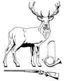 Red deer, hunting horn, rifle. Stock Image