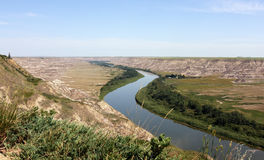 Red Deer river Alberta Canada. Scenic view of Red Deer river receding into distance, Alberta, Canada Royalty Free Stock Images