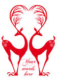 Red deers with heart, vector Stock Image
