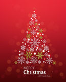 Red defocused background with Christmas tree in the form of stars. Royalty Free Stock Image