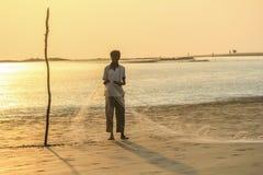 Red del ajuste de Fisher en la playa Imagen de archivo libre de regalías