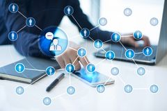 Red del icono de la gente SMM Comercialización social de los media fotos de archivo