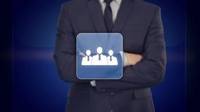 Red del icono del hombre de negocios - concepto de la hora, de HRM, de MLM, del trabajo en equipo y de la dirección stock de ilustración
