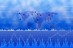 Red del negocio global y gráficos de negocio Imagen de archivo libre de regalías