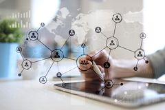 Red del Social de la estructura de los iconos de la gente Hora Gestión de recursos humanos Internet del negocio y concepto de la  imagen de archivo libre de regalías