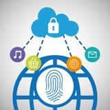 red del social de la seguridad de la nube de la comunicación global stock de ilustración