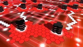 Red del superordenador encendido en el hexágono rojo formado Imagen de archivo