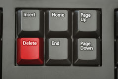 Red Delete Button. A red delete button on a keyboard Royalty Free Stock Images