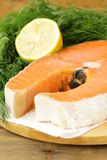 Red delicatessen  fish  salmon with lemon Royalty Free Stock Photography