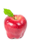 Red delicious apple. On white with leaf and drops Stock Photography