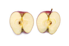 Red delicious apple cut in half Royalty Free Stock Images