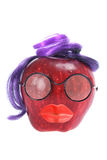 Red Delicious Apple Dressed Like Face. On White Background Royalty Free Stock Photography