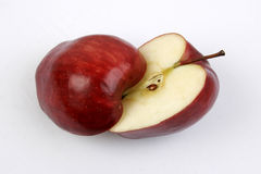 Red Delicious Apple Sliced. Half core stock images
