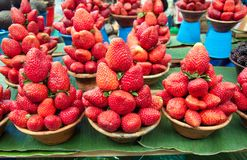 Red, delicious strawberries. Red strawberries exposed at the market Royalty Free Stock Photography