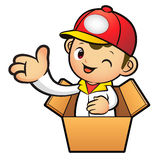 Red Delivery Man Mascot in box the hand guide. Product and Distr Royalty Free Stock Photos