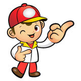 Red Delivery Man mascot the direction of pointing. Product and D Royalty Free Stock Photography