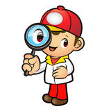 Red Delivery Man mascot examine a with a magnifying glass. Produ Stock Photography