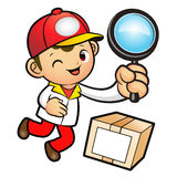 Red Delivery Man mascot examine a with a magnifying glass. Produ Royalty Free Stock Photography