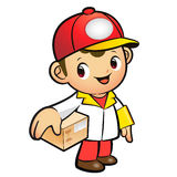 Red Delivery Man Mascot the hand is holding a Box. Product and D Stock Photography