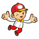 The Red Delivery Man mascot has been welcomed with both hands. P Stock Image