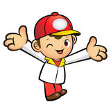 The Red Delivery Man mascot has been welcomed with both hands. P Stock Images