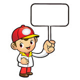 The Red Delivery Man mascot holding a board. Product and Distrib Stock Images