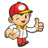 Red Delivery Man Mascot the left hand best gesture and right han Stock Photos