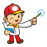 Red Delivery Man mascot the left hand guides and the right hand Royalty Free Stock Images