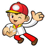 Red Delivery Man mascot the left hand guides and the right hand Stock Images