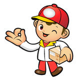 Red Delivery Man Mascot the OK gesture. Home and Family Characte Royalty Free Stock Images
