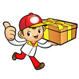 Red Delivery Man Mascot the right hand best gesture and left han Royalty Free Stock Images