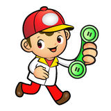 Red Delivery Man Mascot To answer a phone call orders. Product a Royalty Free Stock Photos