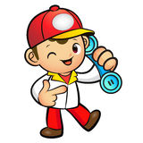Red Delivery Man Mascot To answer a phone call orders. Product a Stock Images